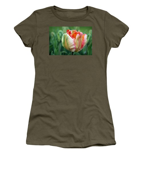 Apricot Parrot Tulip Women's T-Shirt (Athletic Fit)