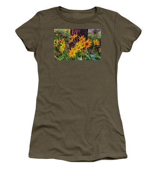 Women's T-Shirt featuring the painting Arrowleaf Balsamroot by Omaste Witkowski