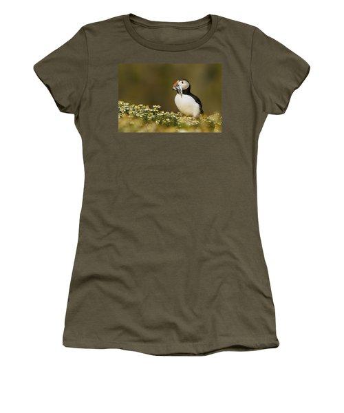 Atlantic Puffin Carrying Fish Skomer Women's T-Shirt (Junior Cut) by Sebastian Kennerknecht