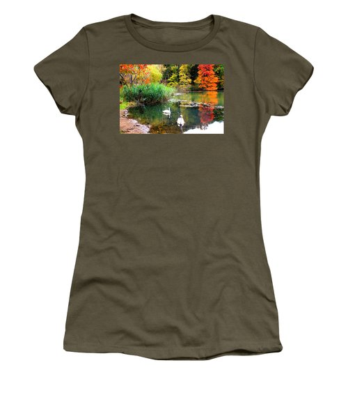 Autumn By The Swan Lake Women's T-Shirt (Junior Cut) by Dora Sofia Caputo Photographic Art and Design