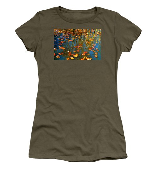 Women's T-Shirt (Junior Cut) featuring the photograph Autumn  Floating by Peggy Franz