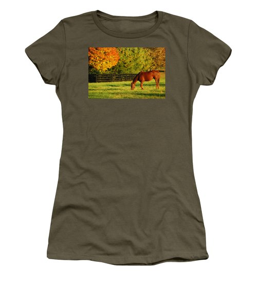 Women's T-Shirt (Junior Cut) featuring the photograph Autumn Grazing by James Kirkikis