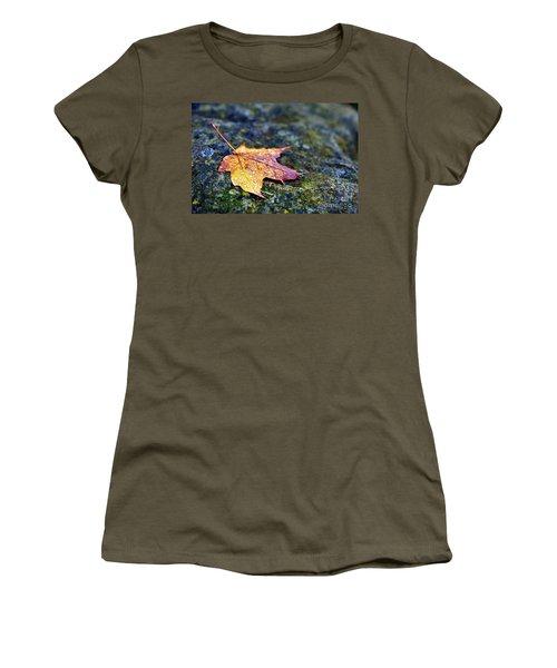 Autumn Leaf On Rocky Ledge Women's T-Shirt (Athletic Fit)