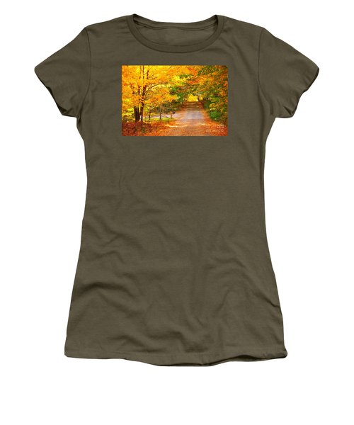 Autumn Road Home Women's T-Shirt (Athletic Fit)