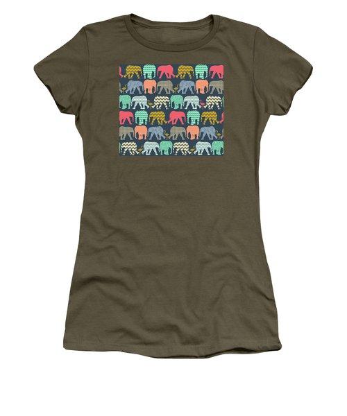 Baby Elephants And Flamingos Women's T-Shirt