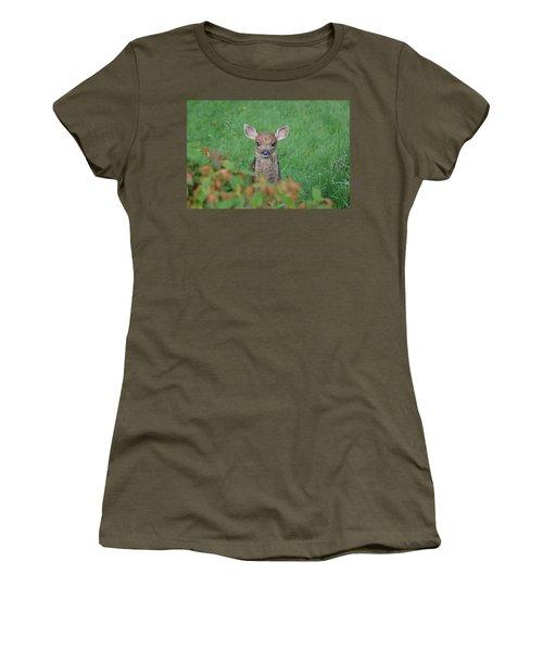 Baby Fawn In Yard Women's T-Shirt (Junior Cut) by Kym Backland