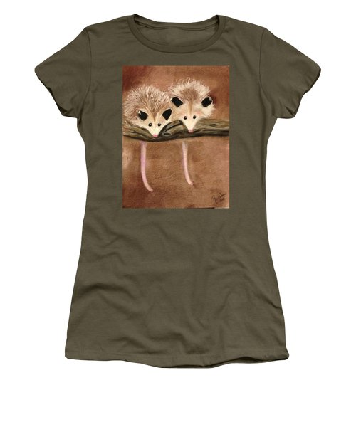 Baby Possums Women's T-Shirt (Junior Cut) by Renee Michelle Wenker