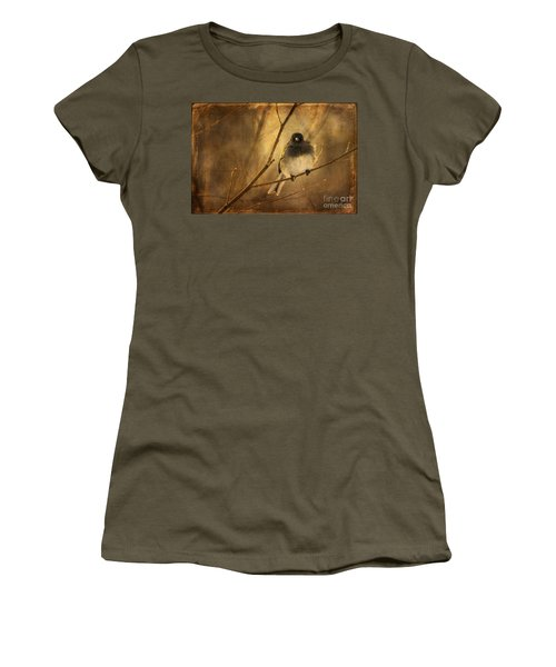 Backlit Birdie Being Buffeted  Women's T-Shirt