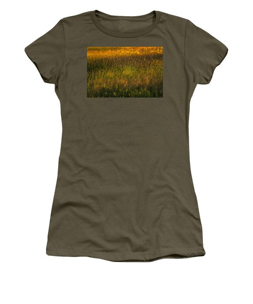 Women's T-Shirt (Junior Cut) featuring the photograph Backlit Meadow Grasses by Marty Saccone