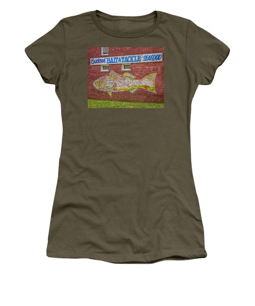 Bait Tackle Seafood Shop Detail Women's T-Shirt (Junior Cut) by Jerry Gammon
