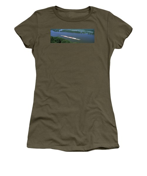 Barge In A River, Mississippi River Women's T-Shirt