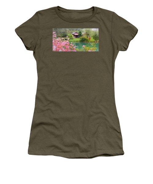 Barn And Flowers Near Pond Women's T-Shirt