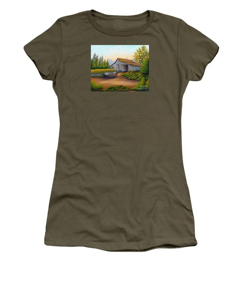 Barn And Wagon Women's T-Shirt (Athletic Fit)