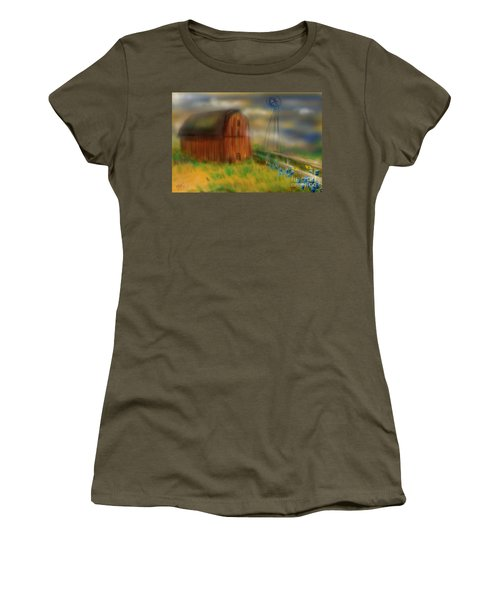 Women's T-Shirt (Junior Cut) featuring the painting Barn by Marisela Mungia