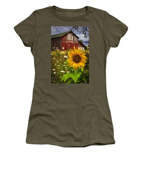 Barn Meadow Flowers Women's T-Shirt (Athletic Fit)