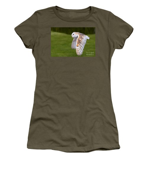 Women's T-Shirt (Junior Cut) featuring the photograph Barn Owl In Flight by Nick  Biemans