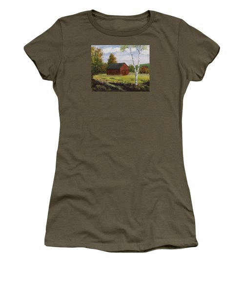 Barn With Lone Birch Women's T-Shirt (Junior Cut) by Alan Mager