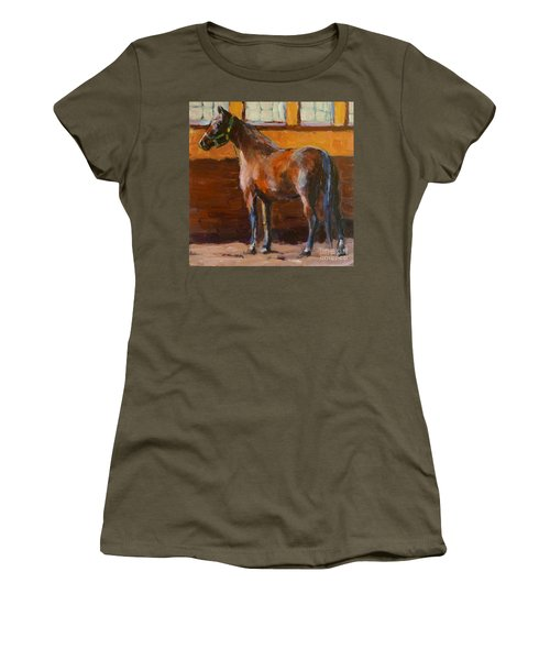 Women's T-Shirt (Junior Cut) featuring the painting Barnlight by Molly Poole