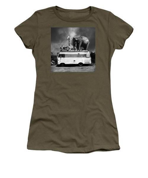 Barnum And Bailey Goes On A Road Trip 5d22705 Square Black And White Women's T-Shirt