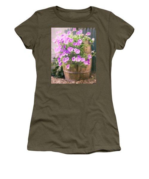 Women's T-Shirt featuring the photograph Barrel Of Flowers - Floral Arrangements by Gary Heller