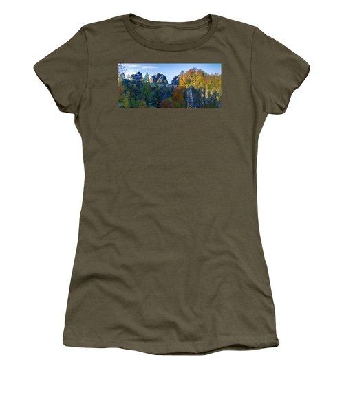 Bastei Bridge In The Elbe Sandstone Mountains Women's T-Shirt