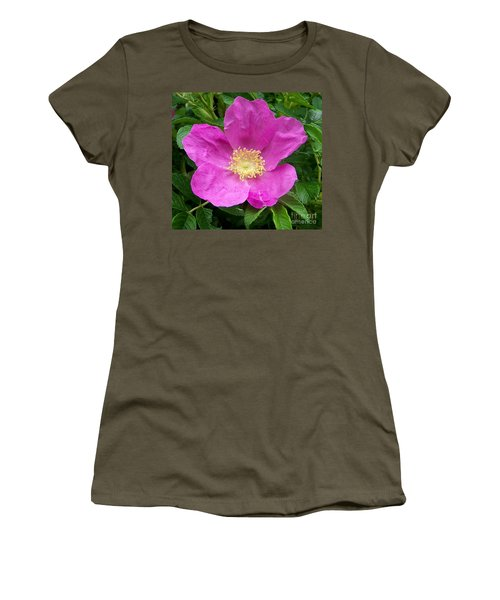 Pink Beach Rose Fully In Bloom Women's T-Shirt (Athletic Fit)