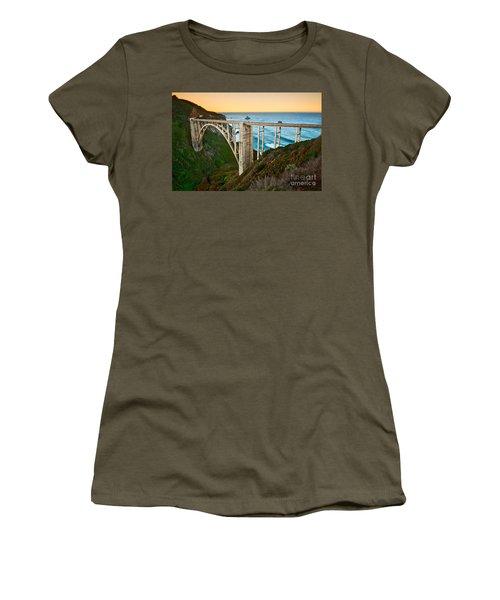 Beautiful Coastal View Of Big Sur In California In Sunrise With Bixby Bridge. Women's T-Shirt