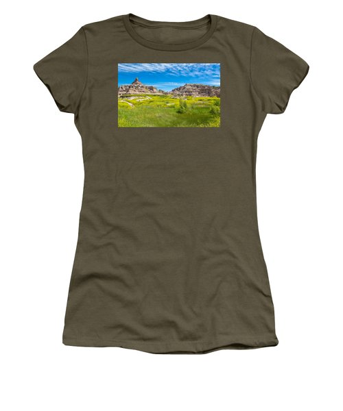 Women's T-Shirt (Athletic Fit) featuring the photograph Beauty And The Badlands by John M Bailey