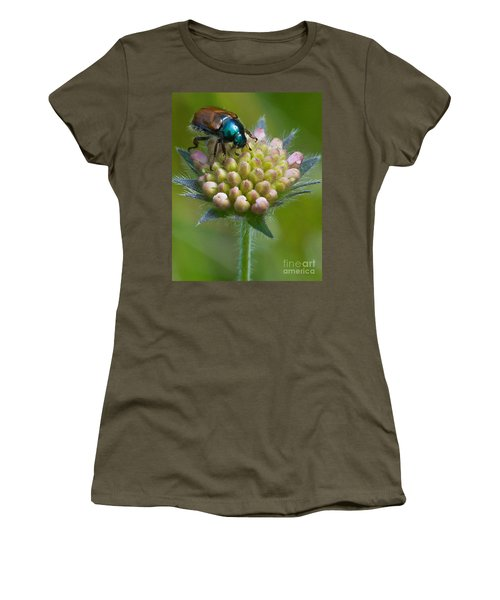 Beetle Sitting On Flower Women's T-Shirt