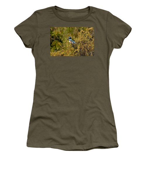 Belted Kingfisher Female Women's T-Shirt (Junior Cut) by Anthony Mercieca