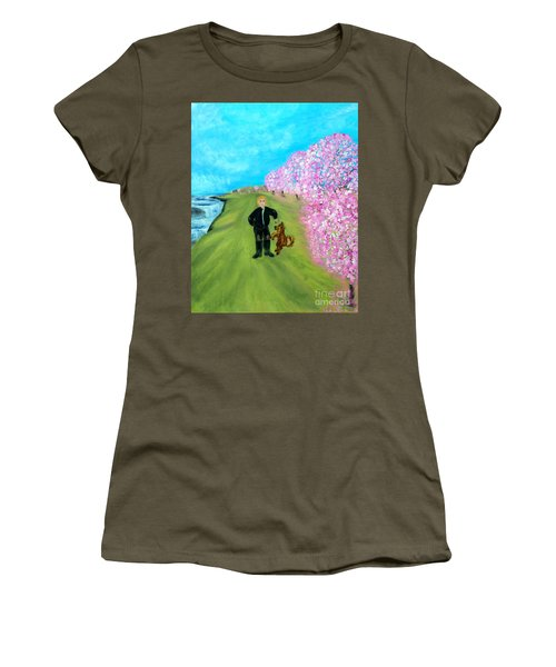 Women's T-Shirt (Junior Cut) featuring the painting Best Friends. Painting. Promotion by Oksana Semenchenko