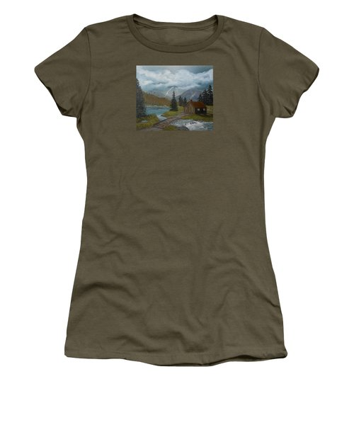 Women's T-Shirt (Junior Cut) featuring the painting Big Storms A Comin' by Sheri Keith