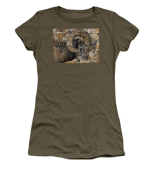 Bighorn Rock Art Women's T-Shirt (Junior Cut) by Steve McKinzie