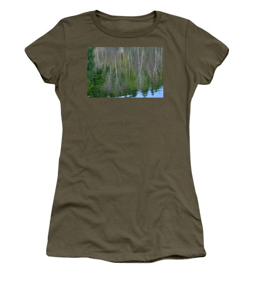 Birch Trees Reflected In Pond Women's T-Shirt