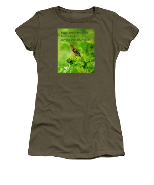Bird In A Sunflower Field Scripture Women's T-Shirt (Athletic Fit)