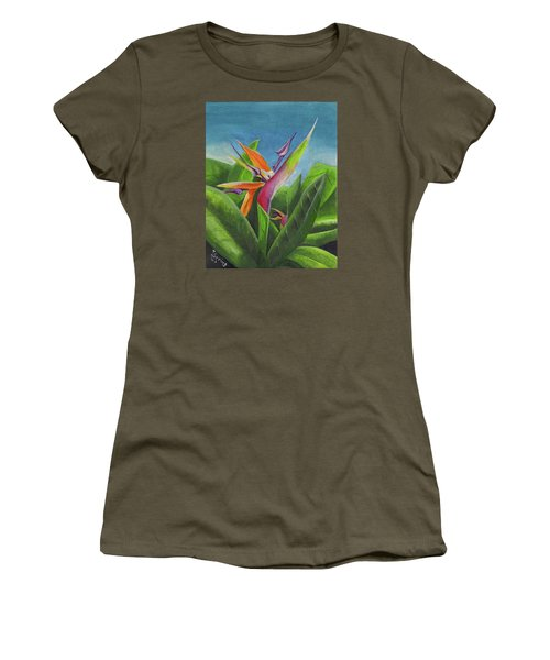Women's T-Shirt (Athletic Fit) featuring the painting Hawaiian Bird Of Paradise by Thomas J Herring