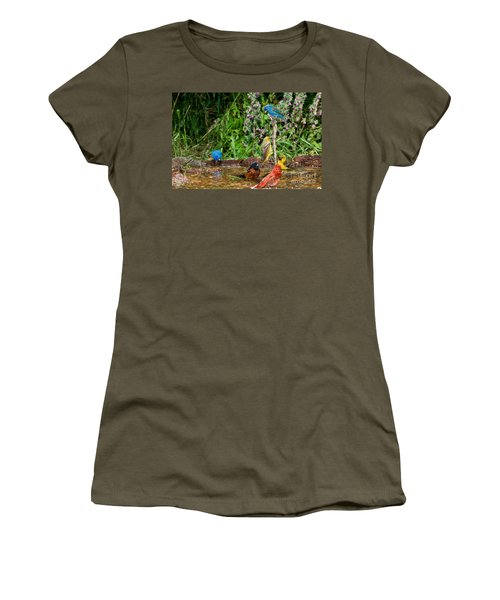 Birds Bathing Women's T-Shirt (Athletic Fit)