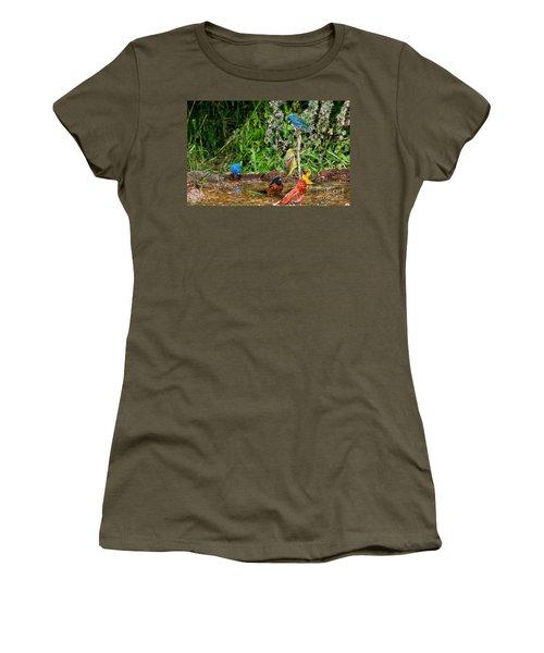 Birds Bathing Women's T-Shirt (Athletic Fit)