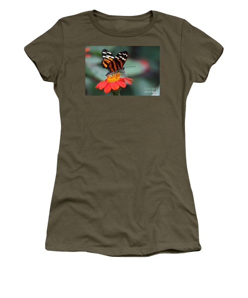 Black And Brown Butterfly On A Red Flower Women's T-Shirt