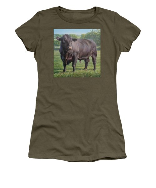 Black Angus Bull 2 Women's T-Shirt (Junior Cut) by Hans Droog