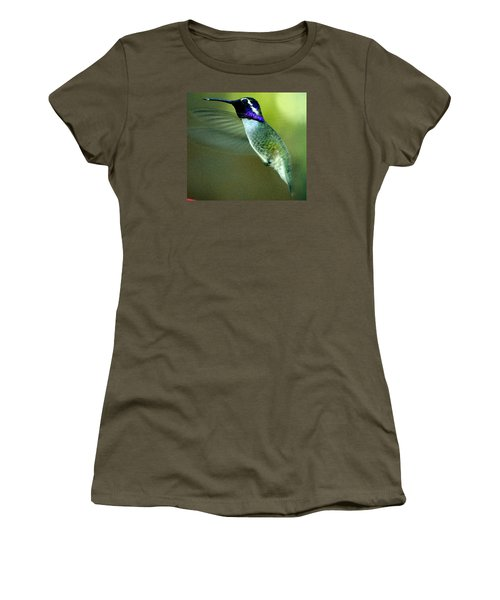 Women's T-Shirt (Junior Cut) featuring the photograph Black Chinned Male In Flight To Feeder by Jay Milo
