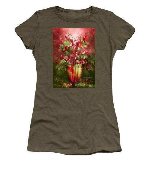 Women's T-Shirt (Athletic Fit) featuring the mixed media Bleeding Hearts In Heart Vase by Carol Cavalaris