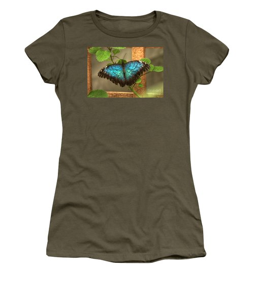 Blue And Black Butterfly Women's T-Shirt