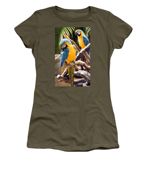 Blue And Yellow Macaw Pair Women's T-Shirt (Athletic Fit)