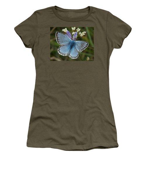 Women's T-Shirt (Junior Cut) featuring the digital art Blue Butterfly by Ron Harpham