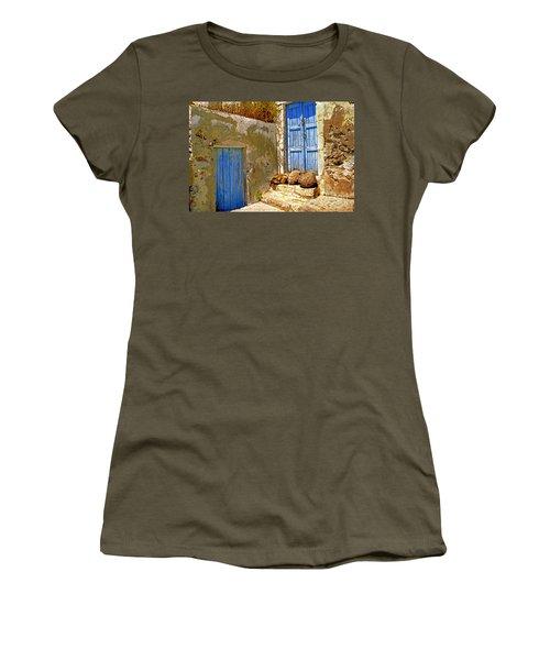 Blue Doors Of Santorini Women's T-Shirt (Athletic Fit)