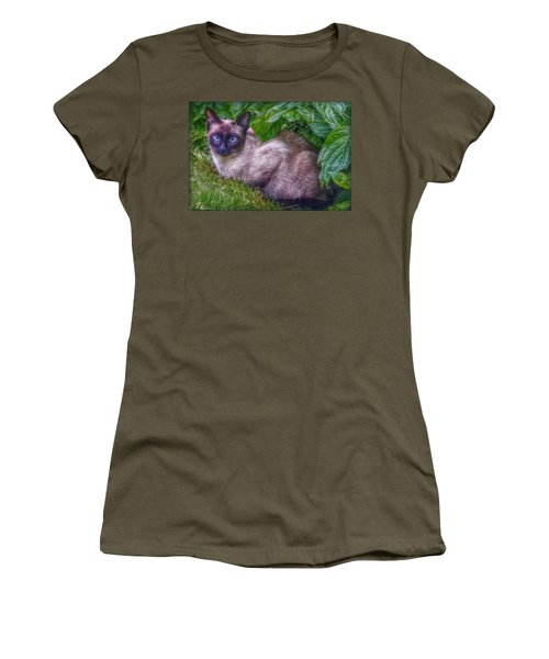 Women's T-Shirt (Junior Cut) featuring the photograph Blue Eyes - Signed by Hanny Heim