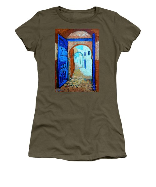 Women's T-Shirt (Junior Cut) featuring the painting Blue Gate by Ana Maria Edulescu