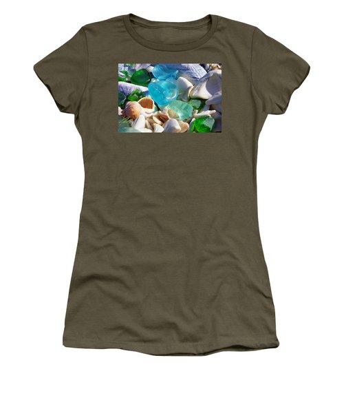 Blue Green Seaglass Shells Coastal Beach Women's T-Shirt