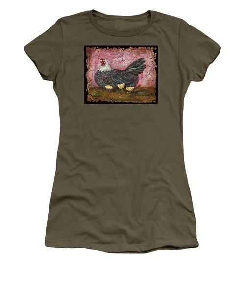 Blue Hen With Chicks Fresco Women's T-Shirt (Junior Cut)